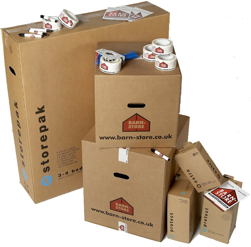 Self Storage Packaging including boxes of various sizes and tape guns